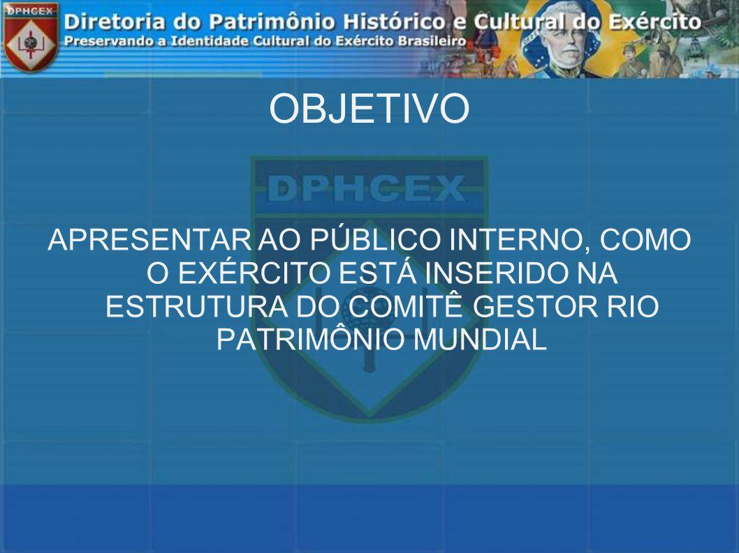 OBJETIVO APRESENTAR AO PÚBLICO INTERNO, COMO O EXÉRCITO ESTÁ INSERIDO NA ESTRUTURA DO COMITÊ GESTOR RIO PATRIMÔNIO MUNDIAL