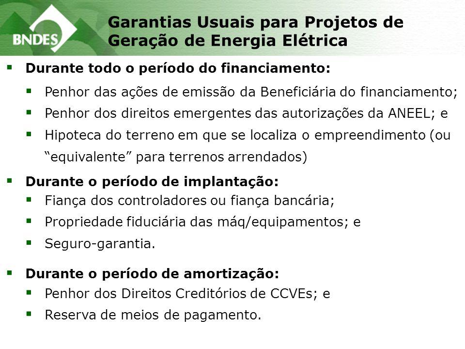  Fiança dos controladores ou fiança bancária;  Propriedade fiduciária das máq/equipamentos; e  Seguro-garantia. Garantias Usuais para Projetos de G