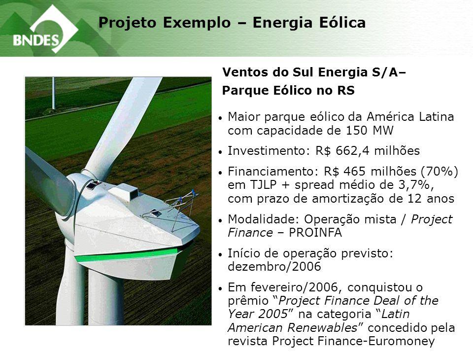 Projeto Exemplo – Energia Eólica Ventos do Sul Energia S/A– Parque Eólico no RS Maior parque eólico da América Latina com capacidade de 150 MW Investi