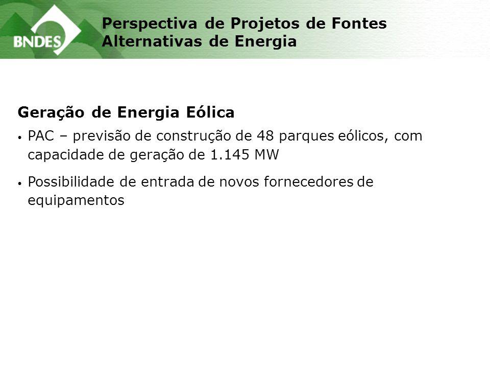 Perspectiva de Projetos de Fontes Alternativas de Energia Geração de Energia Eólica PAC – previsão de construção de 48 parques eólicos, com capacidade