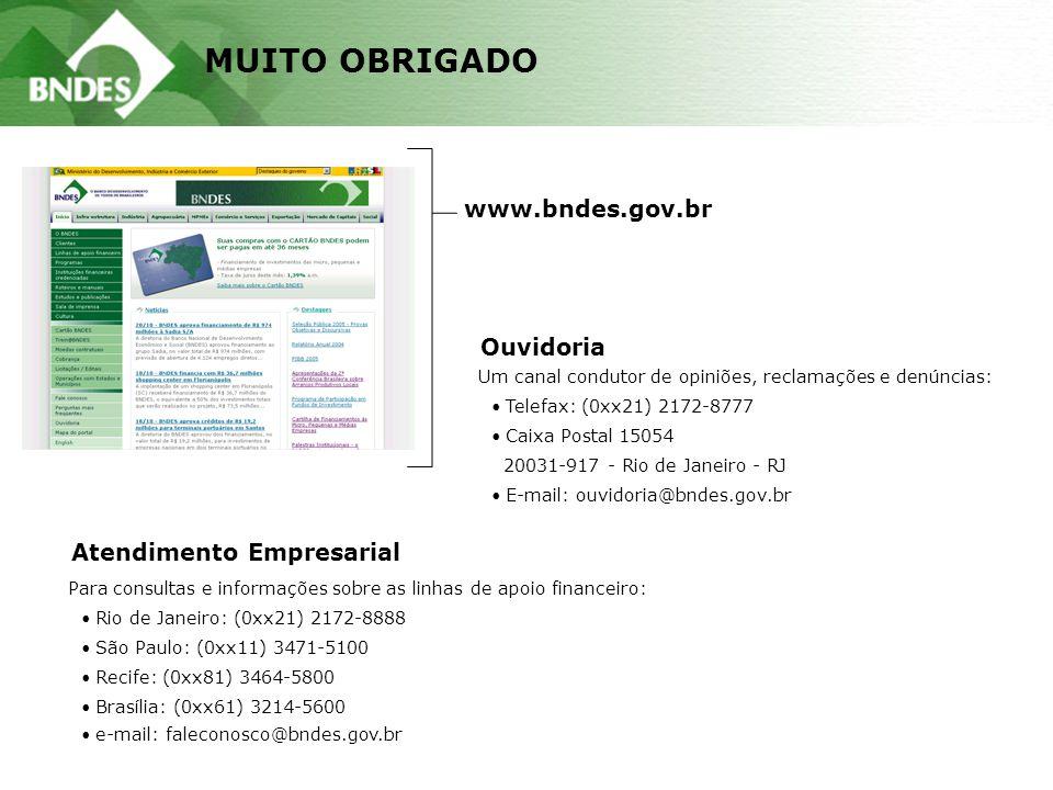 MUITO OBRIGADO www.bndes.gov.br Atendimento Empresarial Para consultas e informações sobre as linhas de apoio financeiro: Rio de Janeiro: (0xx21) 2172