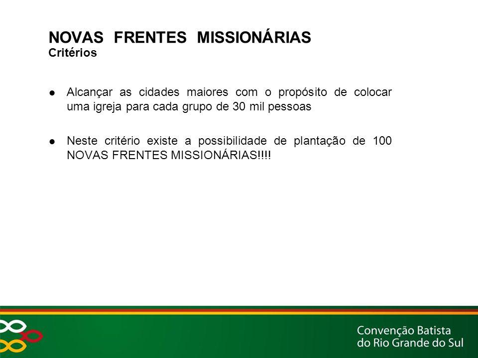 NOVAS FRENTES MISSIONÁRIAS Critérios Alcançar as cidades maiores com o propósito de colocar uma igreja para cada grupo de 30 mil pessoas Neste critério existe a possibilidade de plantação de 100 NOVAS FRENTES MISSIONÁRIAS!!!!