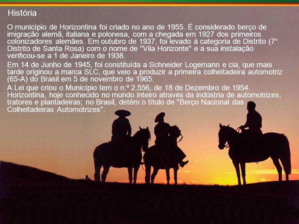 História O município de Horizontina foi criado no ano de 1955.
