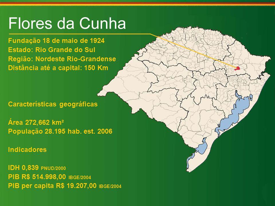 Fundação 18 de maio de 1924 Estado: Rio Grande do Sul Região: Nordeste Rio-Grandense Distância até a capital: 150 Km Características geográficas Área 272,662 km² População 28.195 hab.