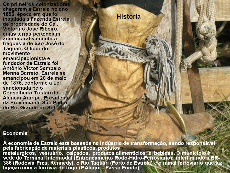 História Os primeiros colonizadores chegaram a Estrela no ano 1856, época em que foi instalada a Fazenda Estrela, de propriedade do Cel.