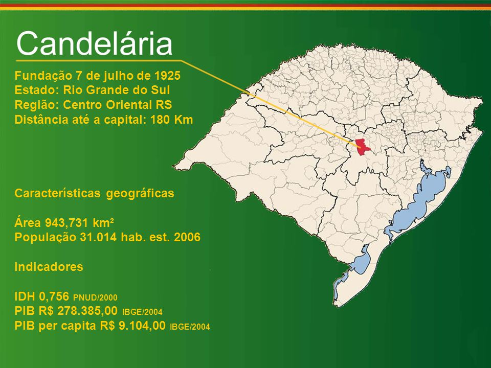 Fundação 7 de julho de 1925 Estado: Rio Grande do Sul Região: Centro Oriental RS Distância até a capital: 180 Km Características geográficas Área 943,731 km² População 31.014 hab.