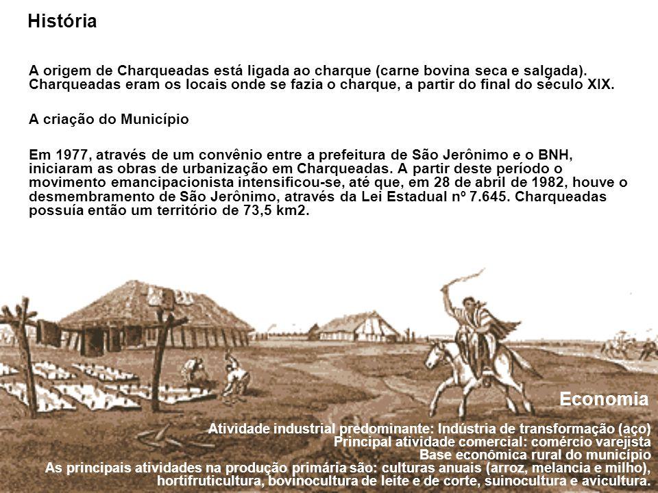 História A origem de Charqueadas está ligada ao charque (carne bovina seca e salgada).