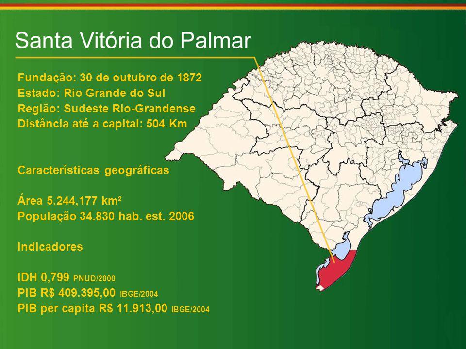 Fundação: 30 de outubro de 1872 Estado: Rio Grande do Sul Região: Sudeste Rio-Grandense Distância até a capital: 504 Km Características geográficas Área 5.244,177 km² População 34.830 hab.