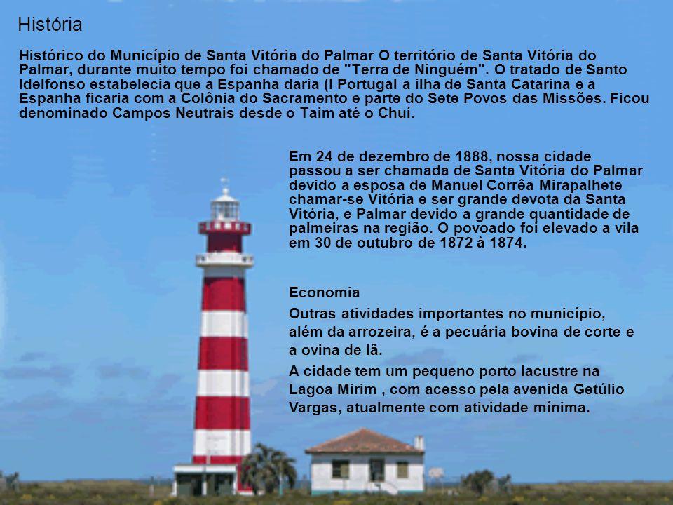 História Histórico do Município de Santa Vitória do Palmar O território de Santa Vitória do Palmar, durante muito tempo foi chamado de Terra de Ninguém .