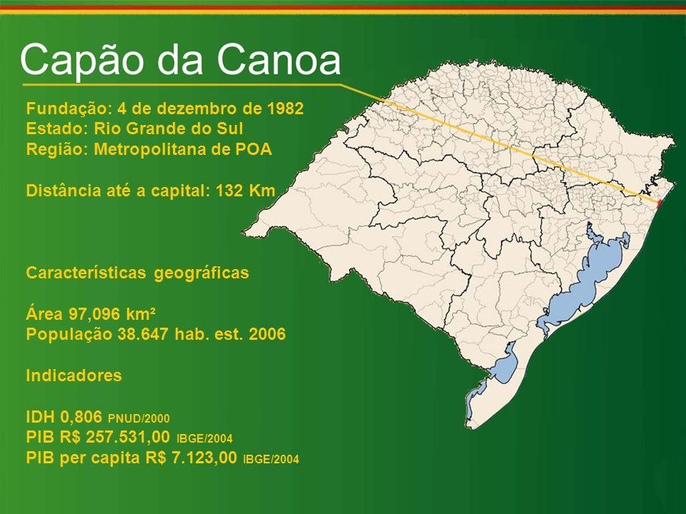 Fundação: 4 de dezembro de 1982 Estado: Rio Grande do Sul Região: Metropolitana de POA Distância até a capital: 132 Km Características geográficas Área 97,096 km² População 38.647 hab.