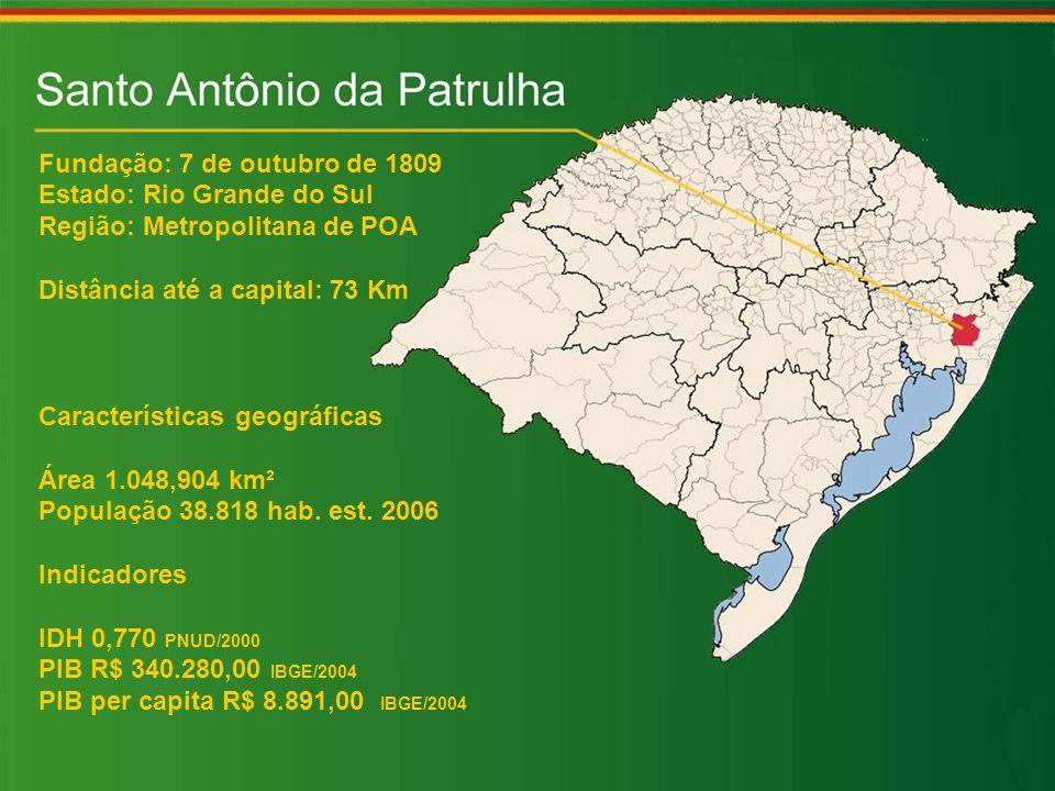 Fundação: 7 de outubro de 1809 Estado: Rio Grande do Sul Região: Metropolitana de POA Distância até a capital: 73 Km Características geográficas Área 1.048,904 km² População 38.818 hab.