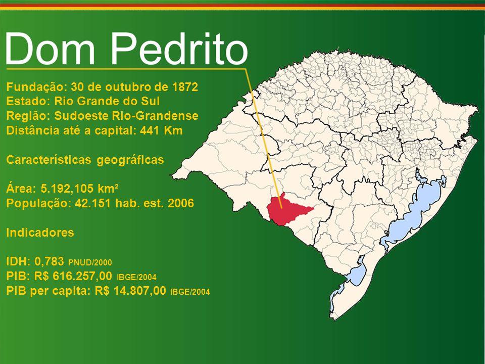 Fundação: 30 de outubro de 1872 Estado: Rio Grande do Sul Região: Sudoeste Rio-Grandense Distância até a capital: 441 Km Características geográficas Área: 5.192,105 km² População: 42.151 hab.