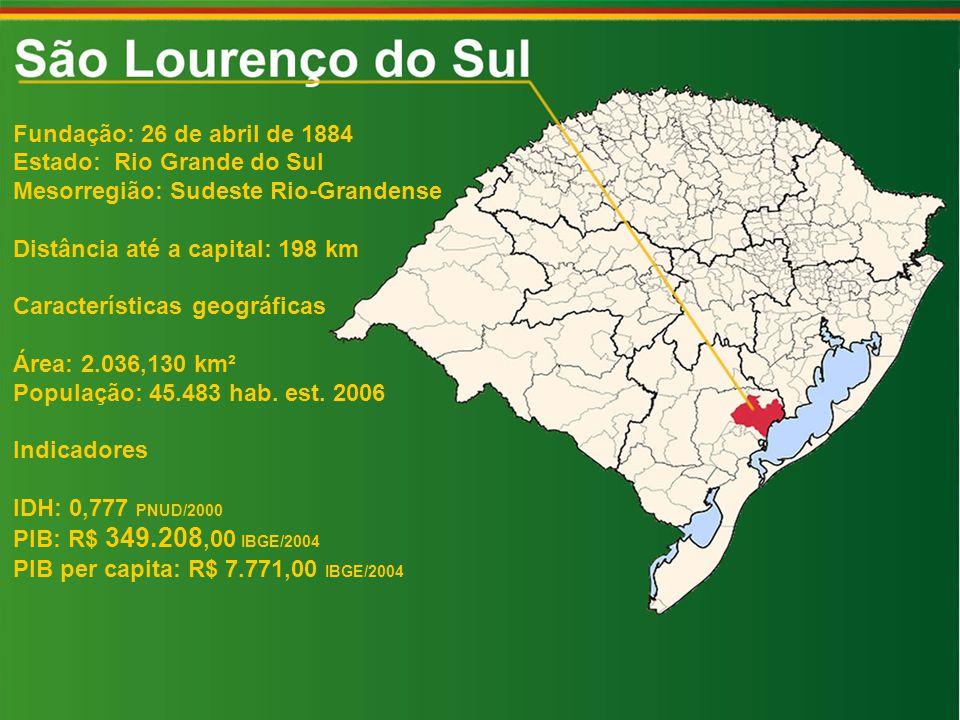 Fundação: 26 de abril de 1884 Estado: Rio Grande do Sul Mesorregião: Sudeste Rio-Grandense Distância até a capital: 198 km Características geográficas Área: 2.036,130 km² População: 45.483 hab.
