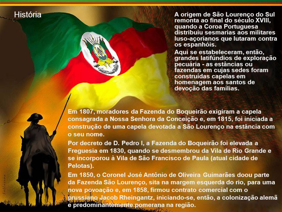 História A origem de São Lourenço do Sul remonta ao final do século XVIII, quando a Coroa Portuguesa distribuiu sesmarias aos militares luso-açorianos que lutaram contra os espanhóis.