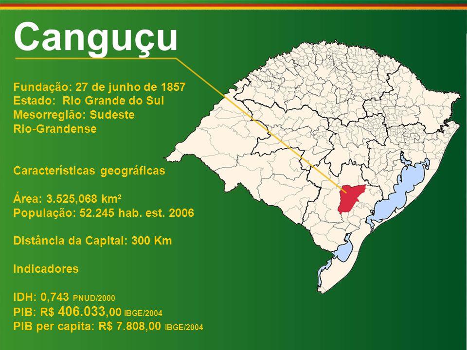Fundação: 27 de junho de 1857 Estado: Rio Grande do Sul Mesorregião: Sudeste Rio-Grandense Características geográficas Área: 3.525,068 km² População: 52.245 hab.