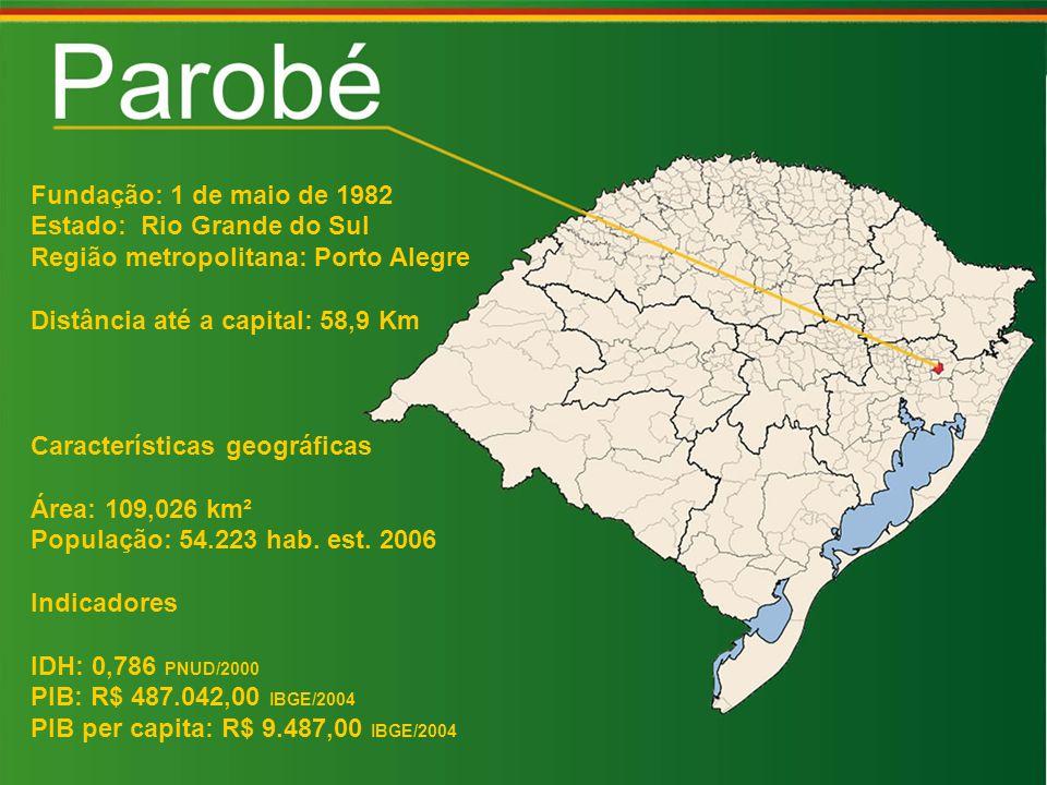 Fundação: 1 de maio de 1982 Estado: Rio Grande do Sul Região metropolitana: Porto Alegre Distância até a capital: 58,9 Km Características geográficas Área: 109,026 km² População: 54.223 hab.