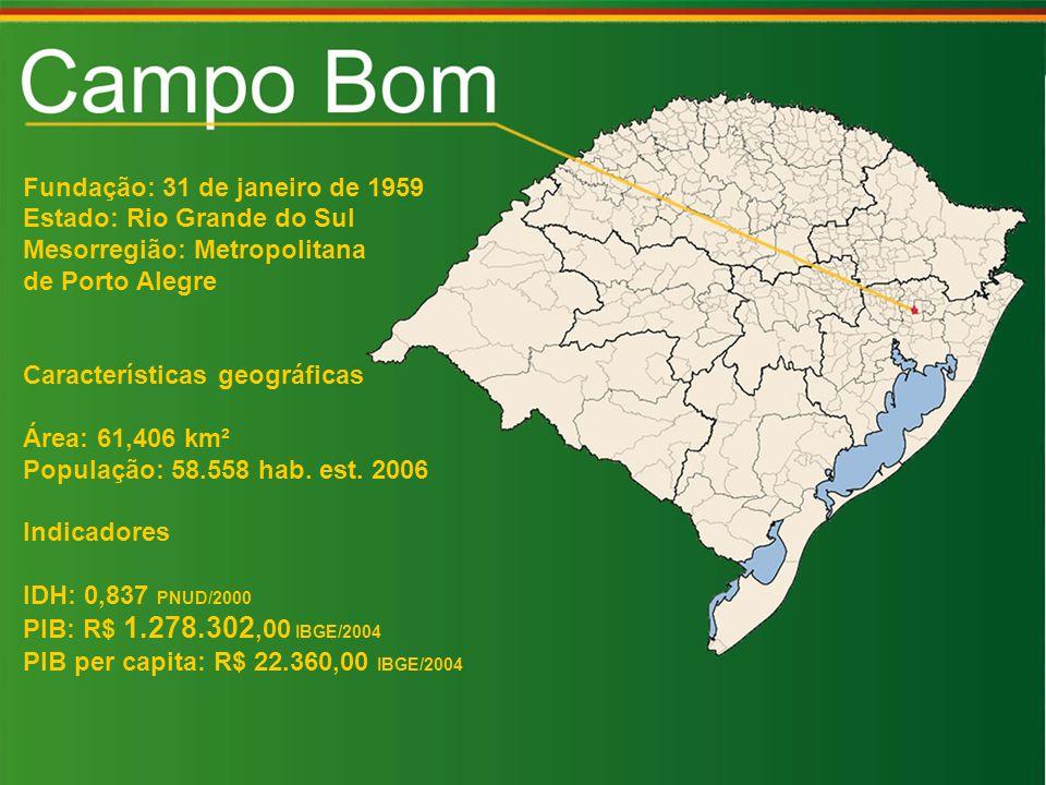 Fundação: 31 de janeiro de 1959 Estado: Rio Grande do Sul Mesorregião: Metropolitana de Porto Alegre Características geográficas Área: 61,406 km² População: 58.558 hab.