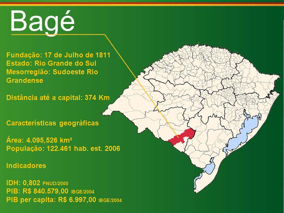 Fundação: 17 de Julho de 1811 Estado: Rio Grande do Sul Mesorregião: Sudoeste Rio Grandense Distância até a capital: 374 Km Características geográficas Área: 4.095,526 km² População: 122.461 hab.