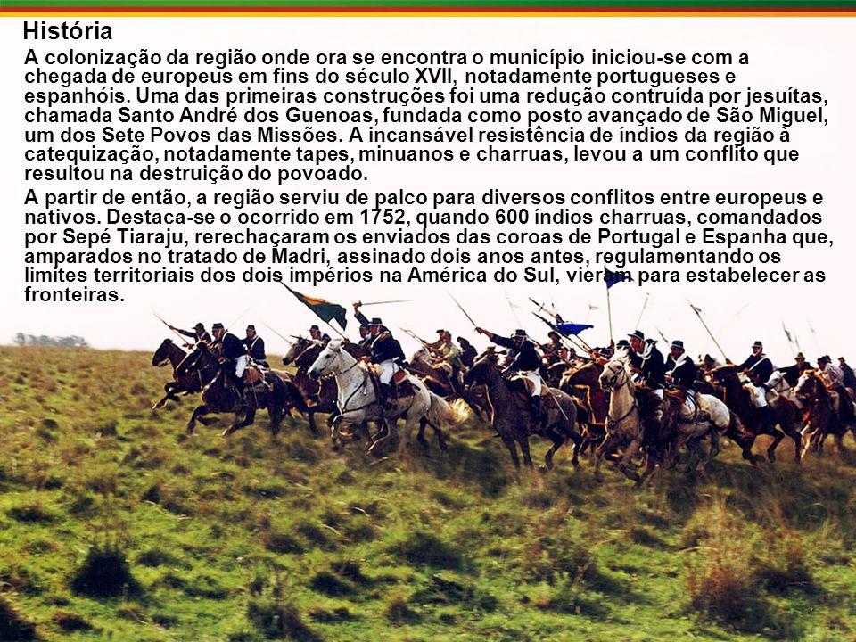 História A colonização da região onde ora se encontra o município iniciou-se com a chegada de europeus em fins do século XVII, notadamente portugueses e espanhóis.