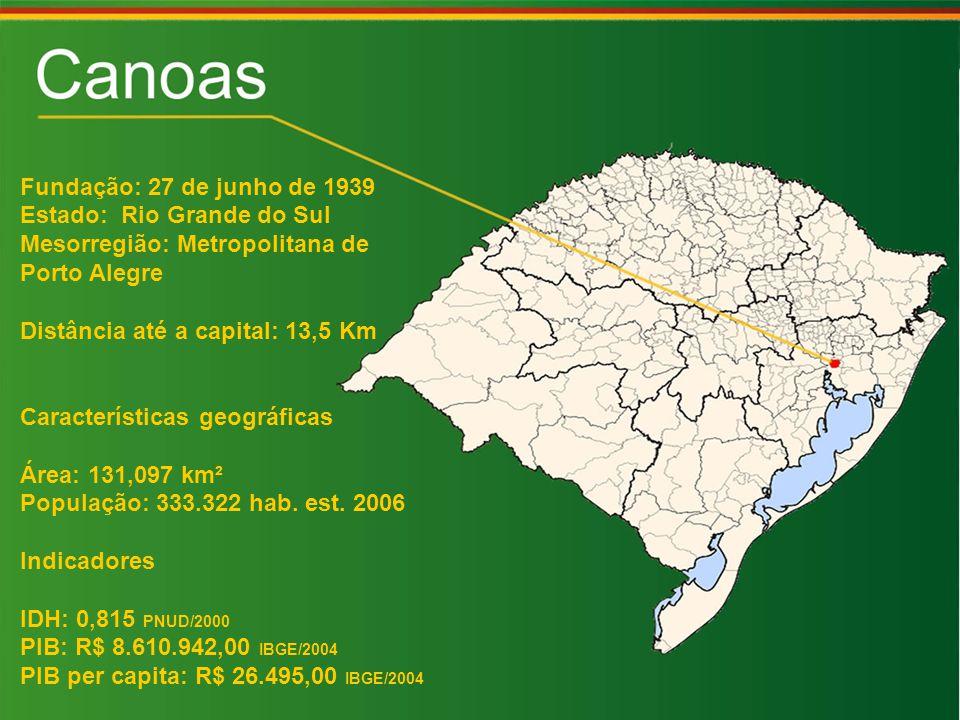 Fundação: 27 de junho de 1939 Estado: Rio Grande do Sul Mesorregião: Metropolitana de Porto Alegre Distância até a capital: 13,5 Km Características geográficas Área: 131,097 km² População: 333.322 hab.