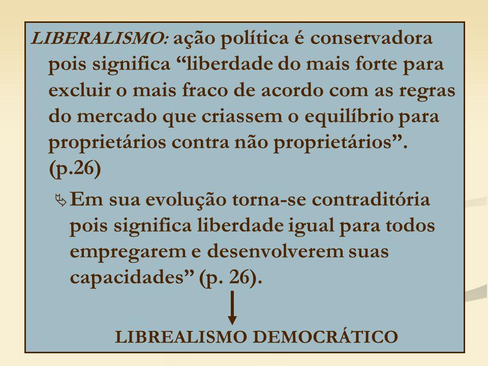 LIBERALISMO: ação política é conservadora pois significa liberdade do mais forte para excluir o mais fraco de acordo com as regras do mercado que criassem o equilíbrio para proprietários contra não proprietários .