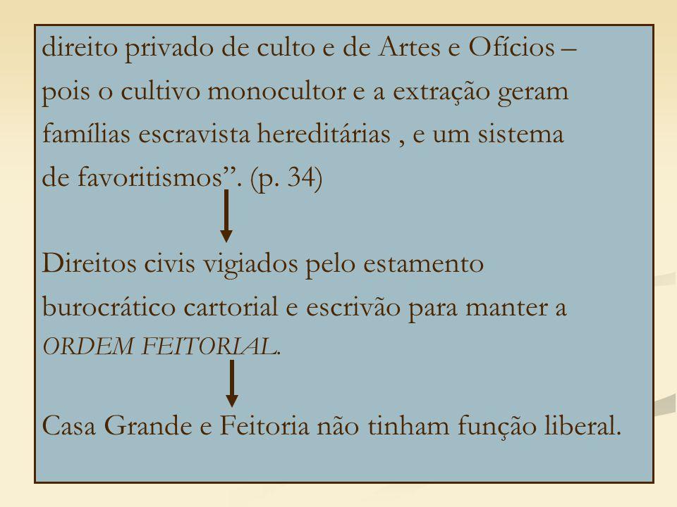 direito privado de culto e de Artes e Ofícios – pois o cultivo monocultor e a extração geram famílias escravista hereditárias, e um sistema de favoritismos .