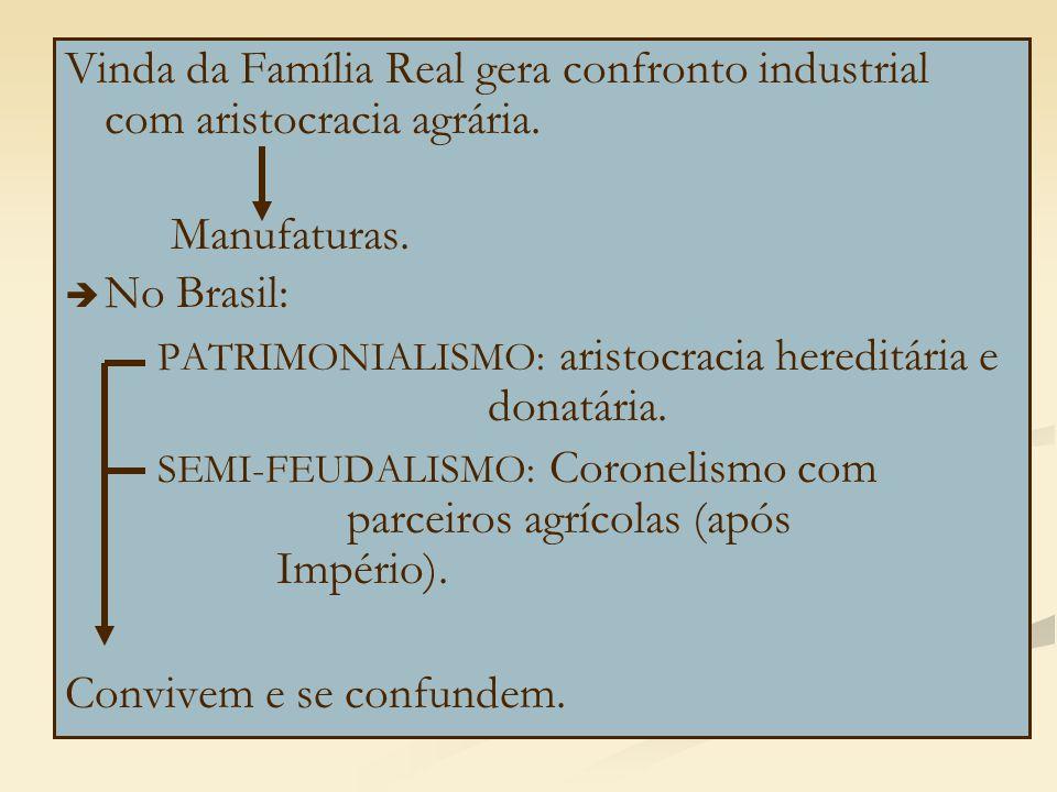 Vinda da Família Real gera confronto industrial com aristocracia agrária. Manufaturas.   No Brasil: PATRIMONIALISMO: aristocracia hereditária e dona