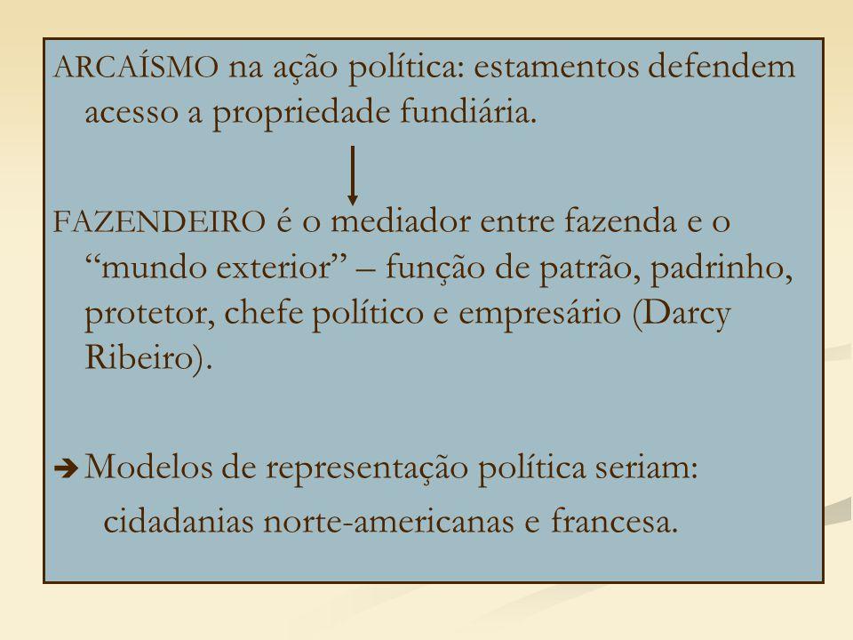 """ARCAÍSMO na ação política: estamentos defendem acesso a propriedade fundiária. FAZENDEIRO é o mediador entre fazenda e o """"mundo exterior"""" – função de"""