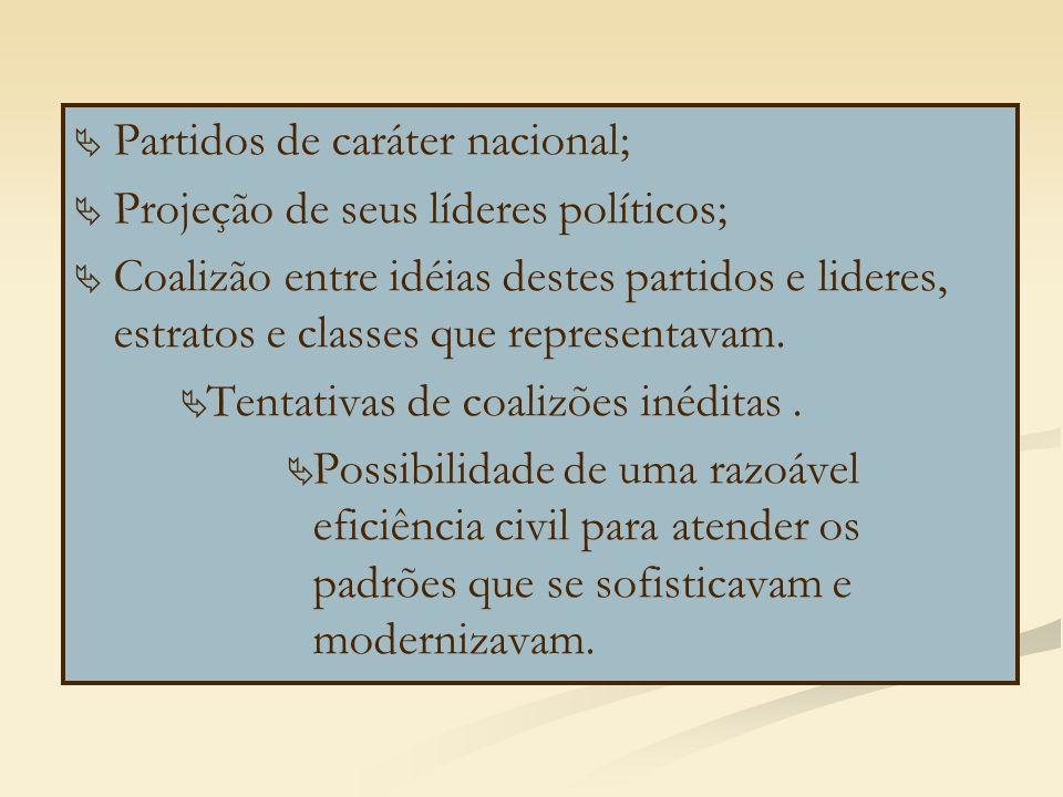   Partidos de caráter nacional;   Projeção de seus líderes políticos;   Coalizão entre idéias destes partidos e lideres, estratos e classes que