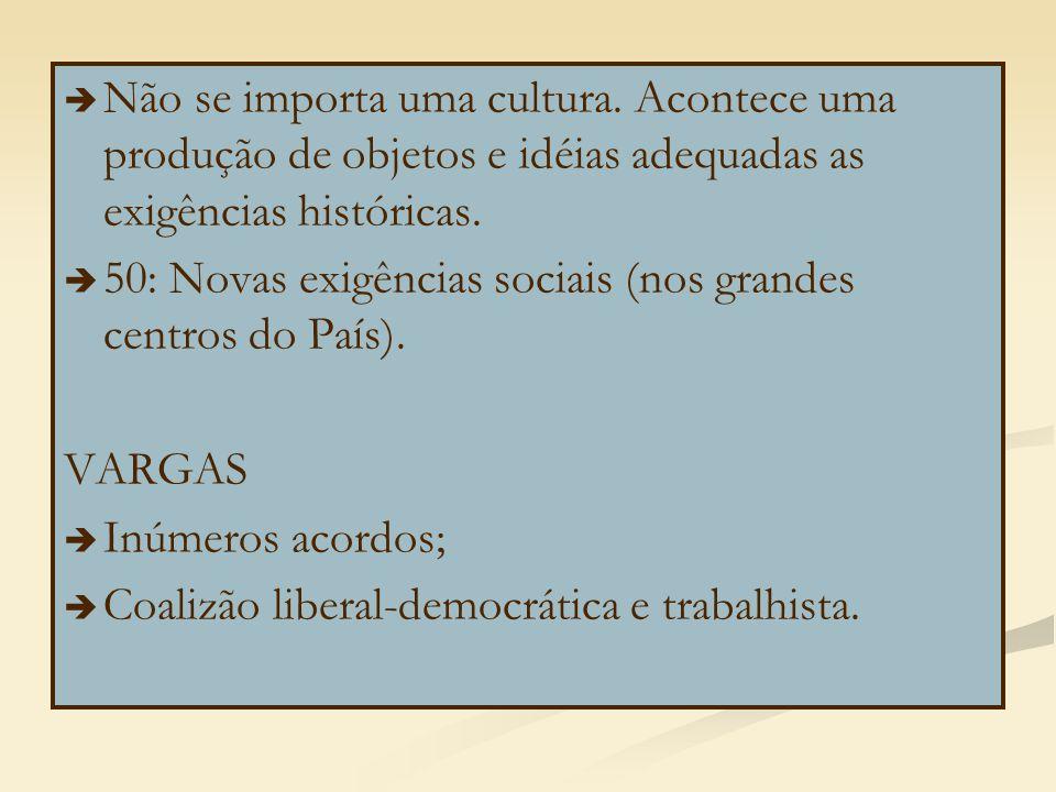   Não se importa uma cultura. Acontece uma produção de objetos e idéias adequadas as exigências históricas.   50: Novas exigências sociais (nos gr