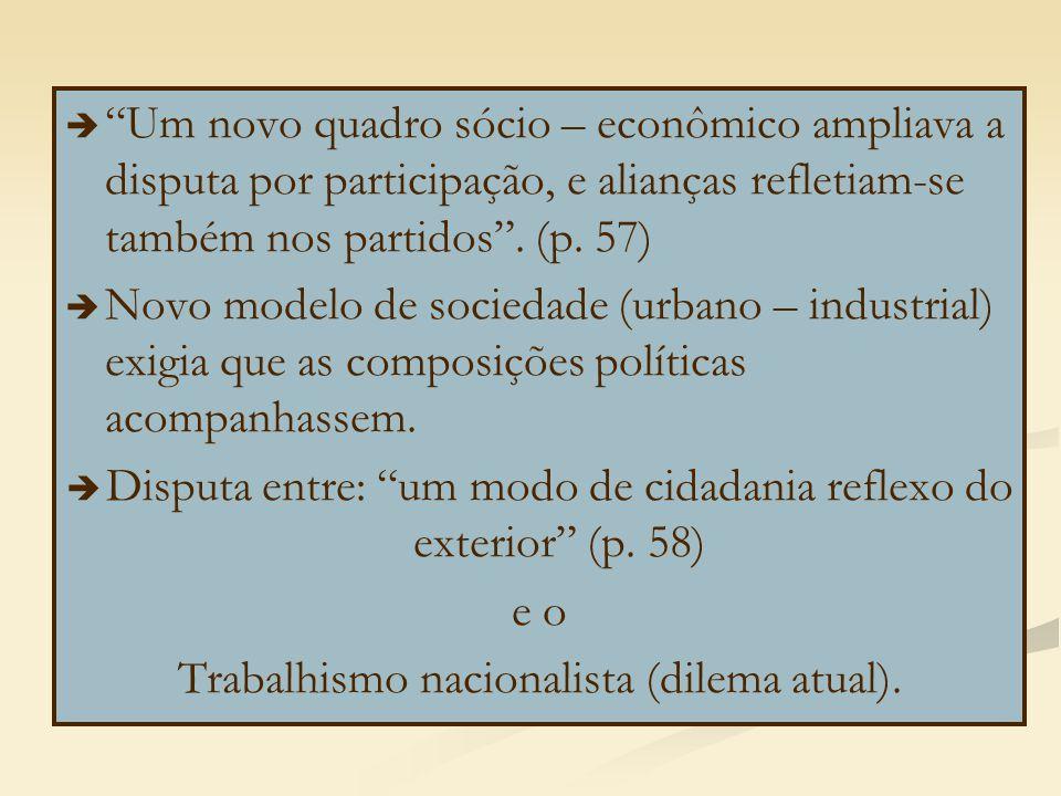 """  """"Um novo quadro sócio – econômico ampliava a disputa por participação, e alianças refletiam-se também nos partidos"""". (p. 57)   Novo modelo de so"""