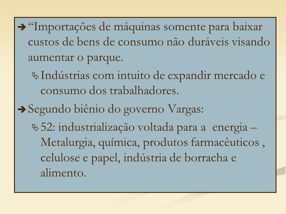 """  """"Importações de máquinas somente para baixar custos de bens de consumo não duráveis visando aumentar o parque.   Indústrias com intuito de expan"""