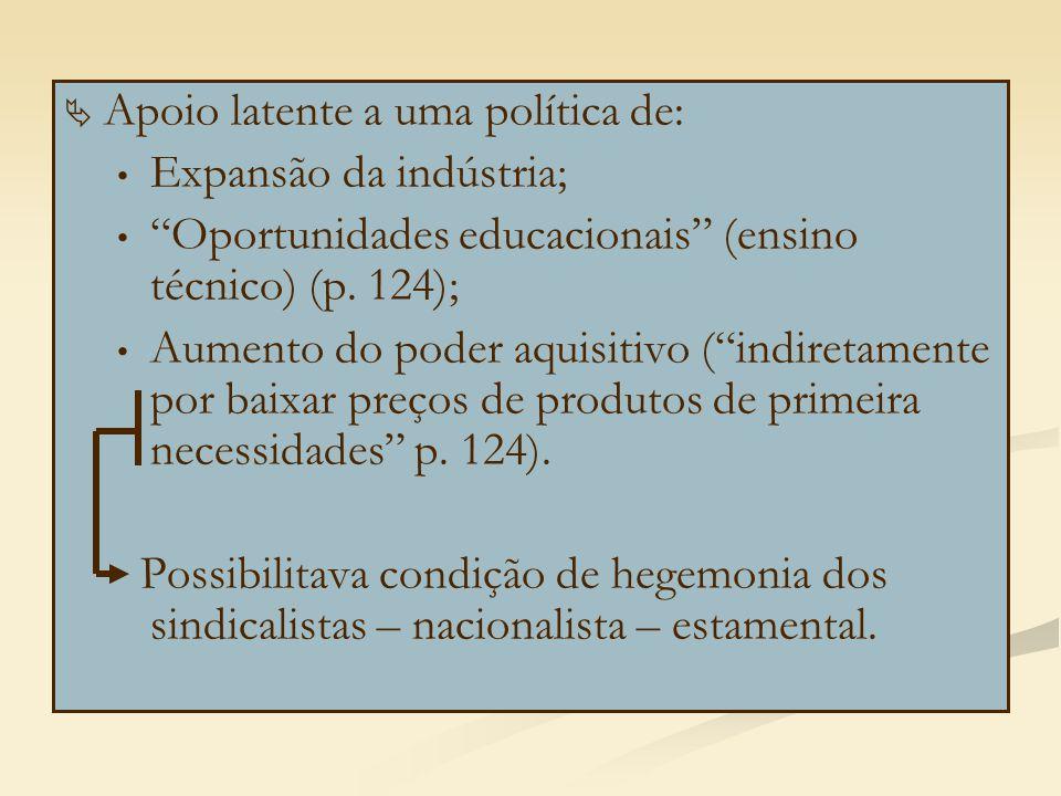 """  Apoio latente a uma política de: Expansão da indústria; """"Oportunidades educacionais"""" (ensino técnico) (p. 124); Aumento do poder aquisitivo (""""indi"""