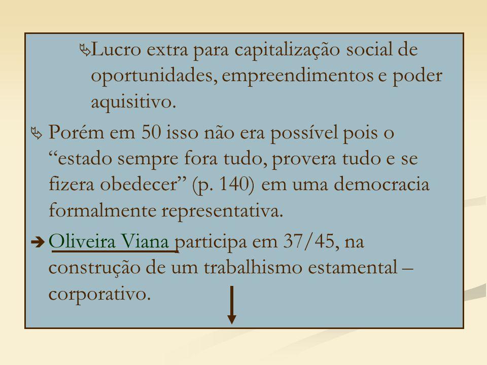 """  Lucro extra para capitalização social de oportunidades, empreendimentos e poder aquisitivo.   Porém em 50 isso não era possível pois o """"estado s"""