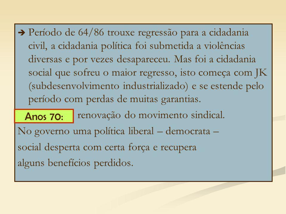   Período de 64/86 trouxe regressão para a cidadania civil, a cidadania política foi submetida a violências diversas e por vezes desapareceu.