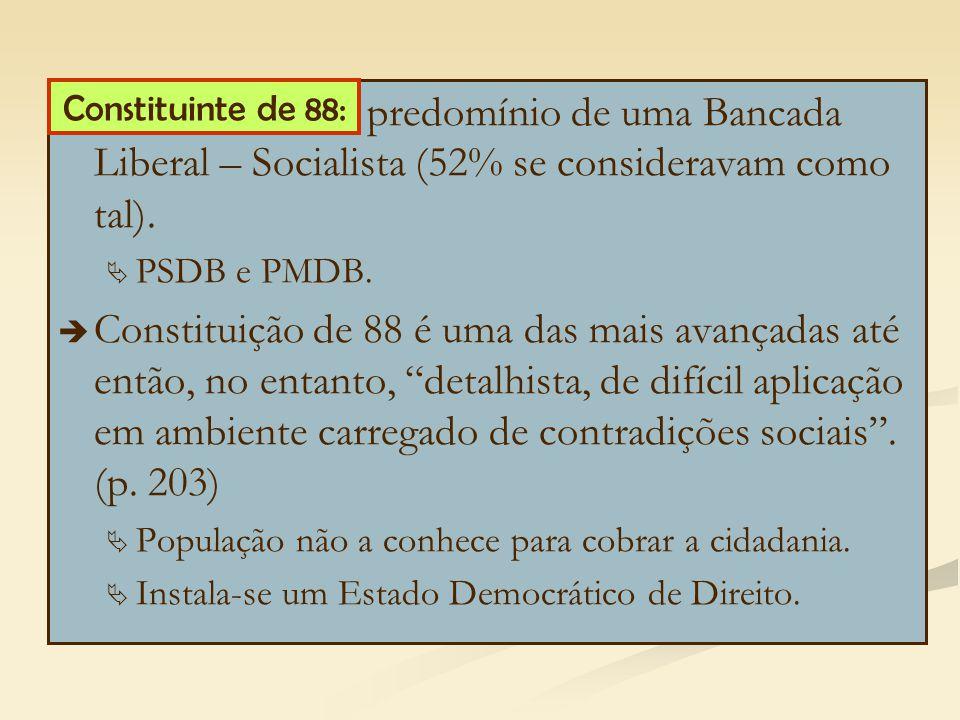 predomínio de uma Bancada Liberal – Socialista (52% se consideravam como tal).   PSDB e PMDB.   Constituição de 88 é uma das mais avançadas até en