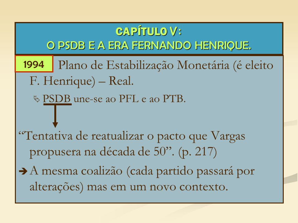"""Plano de Estabilização Monetária (é eleito F. Henrique) – Real.   PSDB une-se ao PFL e ao PTB. """"Tentativa de reatualizar o pacto que Vargas propuser"""