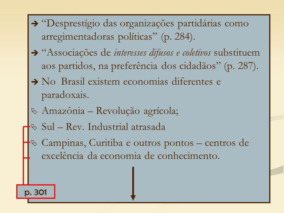 """  """"Desprestígio das organizações partidárias como arregimentadoras políticas"""" (p. 284).   """"Associações de interesses difusos e coletivos substitue"""