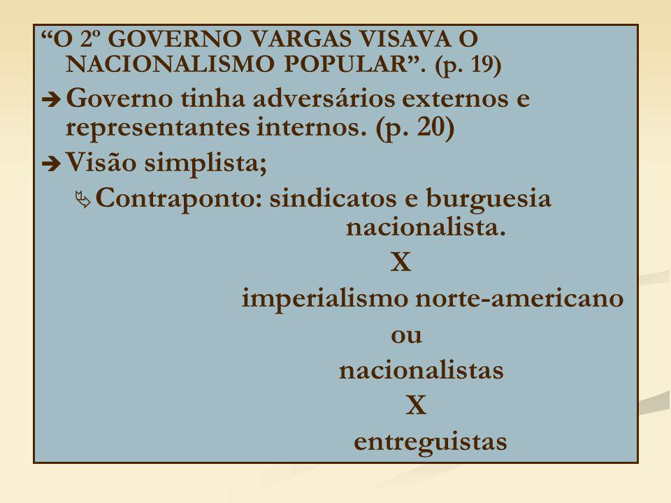 """""""O 2º GOVERNO VARGAS VISAVA O NACIONALISMO POPULAR"""". (p. 19)   Governo tinha adversários externos e representantes internos. (p. 20)   Visão simpl"""
