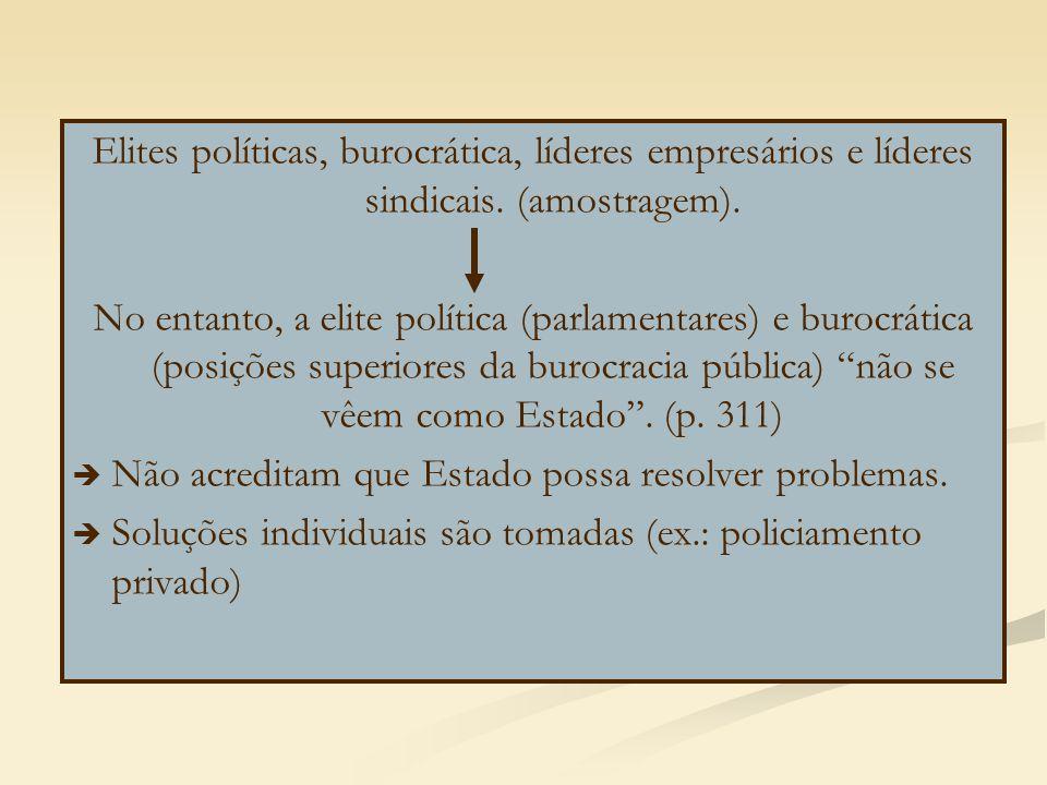 Elites políticas, burocrática, líderes empresários e líderes sindicais. (amostragem). No entanto, a elite política (parlamentares) e burocrática (posi