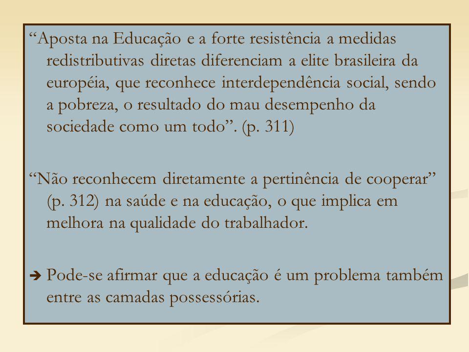 Aposta na Educação e a forte resistência a medidas redistributivas diretas diferenciam a elite brasileira da européia, que reconhece interdependência social, sendo a pobreza, o resultado do mau desempenho da sociedade como um todo .