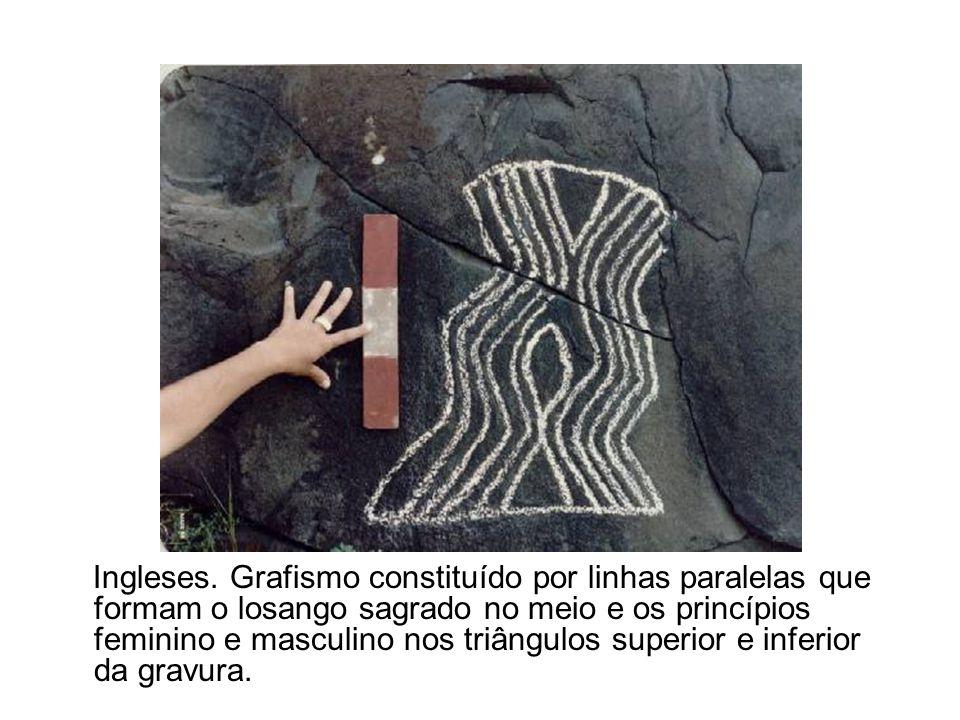 Ingleses. Grafismo constituído por linhas paralelas que formam o losango sagrado no meio e os princípios feminino e masculino nos triângulos superior