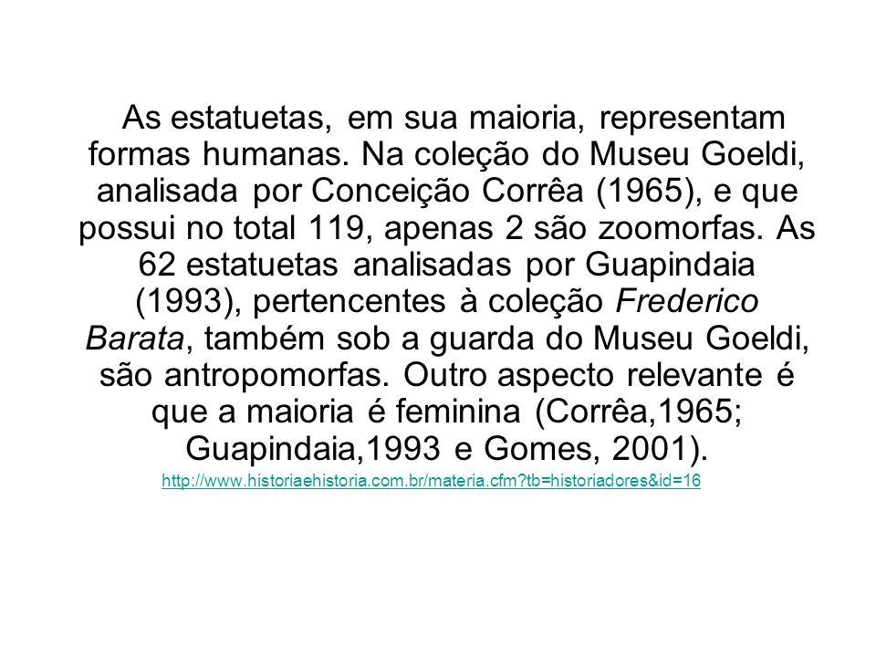 As estatuetas, em sua maioria, representam formas humanas. Na coleção do Museu Goeldi, analisada por Conceição Corrêa (1965), e que possui no total 11