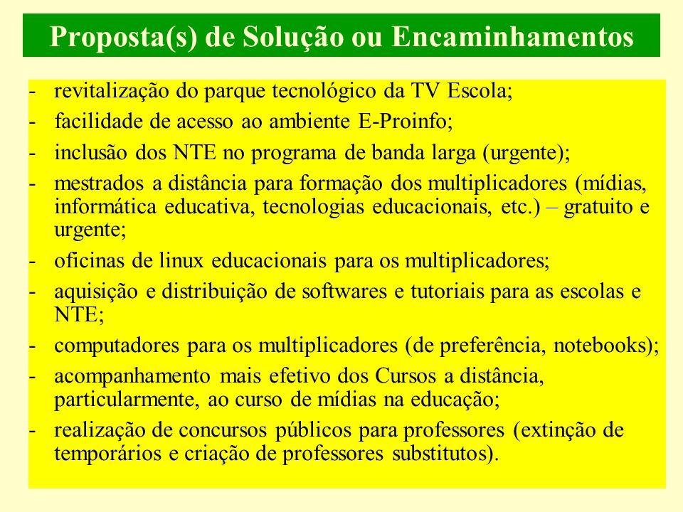 Proposta(s) de Solução ou Encaminhamentos -revitalização do parque tecnológico da TV Escola; -facilidade de acesso ao ambiente E-Proinfo; -inclusão dos NTE no programa de banda larga (urgente); -mestrados a distância para formação dos multiplicadores (mídias, informática educativa, tecnologias educacionais, etc.) – gratuito e urgente; -oficinas de linux educacionais para os multiplicadores; -aquisição e distribuição de softwares e tutoriais para as escolas e NTE; -computadores para os multiplicadores (de preferência, notebooks); -acompanhamento mais efetivo dos Cursos a distância, particularmente, ao curso de mídias na educação; -realização de concursos públicos para professores (extinção de temporários e criação de professores substitutos).
