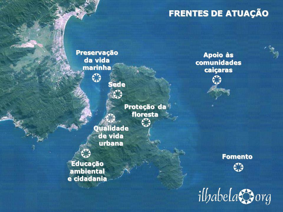 Apoio às comunidades caiçaras Sede Proteção da floresta Qualidade de vida urbana Educação ambiental e cidadania Preservação da vida marinha Fomento FR