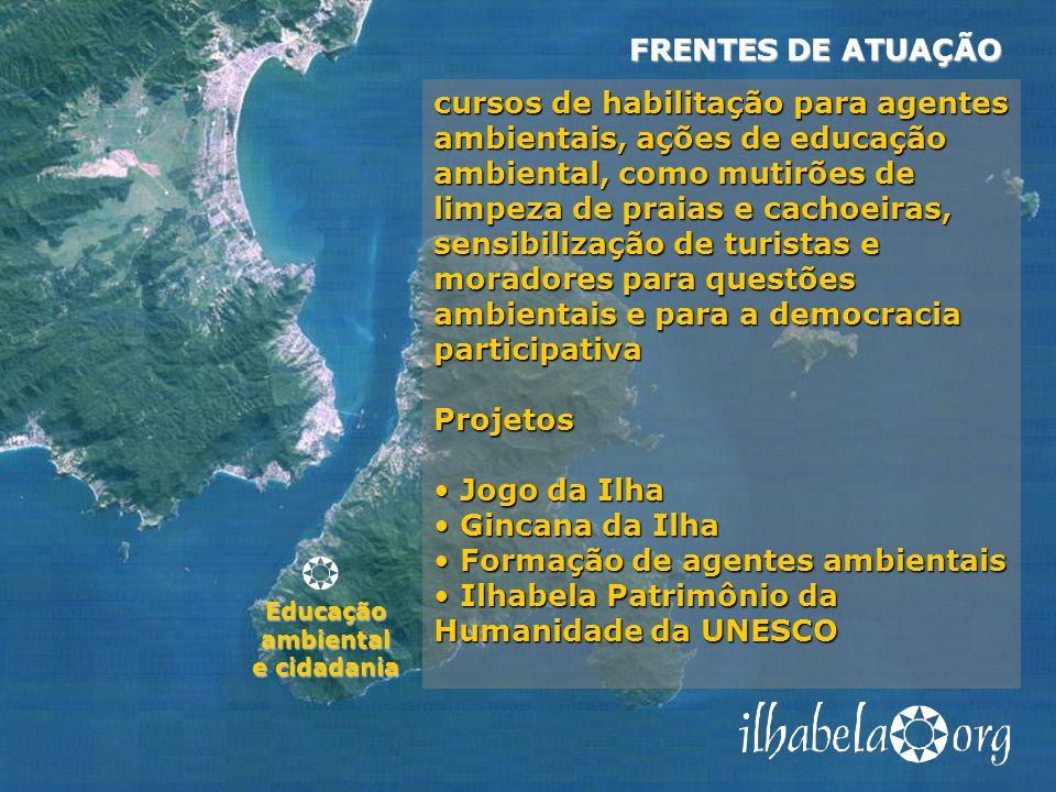 Educação ambiental e cidadania FRENTES DE ATUAÇÃO cursos de habilitação para agentes ambientais, ações de educação ambiental, como mutirões de limpeza de praias e cachoeiras, sensibilização de turistas e moradores para questões ambientais e para a democracia participativa Projetos Jogo da Ilha Jogo da Ilha Gincana da Ilha Gincana da Ilha Formação de agentes ambientais Formação de agentes ambientais Ilhabela Patrimônio da Humanidade da UNESCO Ilhabela Patrimônio da Humanidade da UNESCO