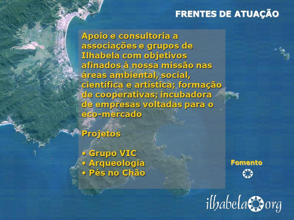 Fomento Apoio e consultoria a associações e grupos de Ilhabela com objetivos afinados à nossa missão nas áreas ambiental, social, científica e artísti