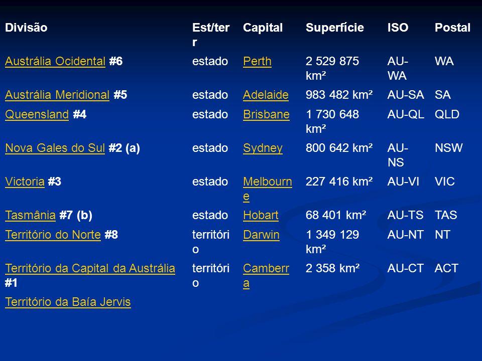 DivisãoEst/ter r CapitalSuperfícieISOPostal Austrália OcidentalAustrália Ocidental #6estadoPerth2 529 875 km² AU- WA WA Austrália MeridionalAustrália