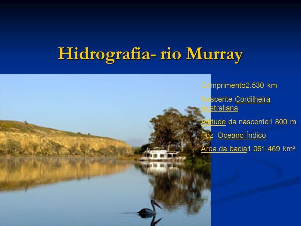 Hidrografia- rio Murray Comprimento2.530 km Nascente Cordilheira AustralianaCordilheira Australiana AltitudeAltitude da nascente1.800 m FozFoz Oceano ÍndicoOceano Índico Área da baciaÁrea da bacia1.061.469 km²