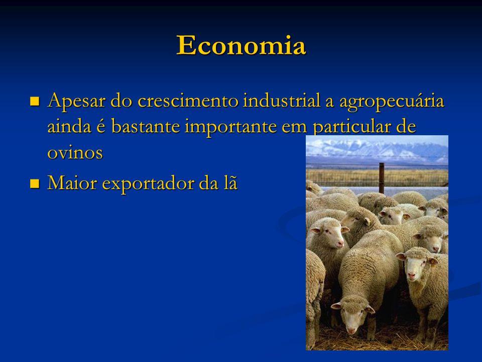 Economia Apesar do crescimento industrial a agropecuária ainda é bastante importante em particular de ovinos Apesar do crescimento industrial a agropecuária ainda é bastante importante em particular de ovinos Maior exportador da lã Maior exportador da lã